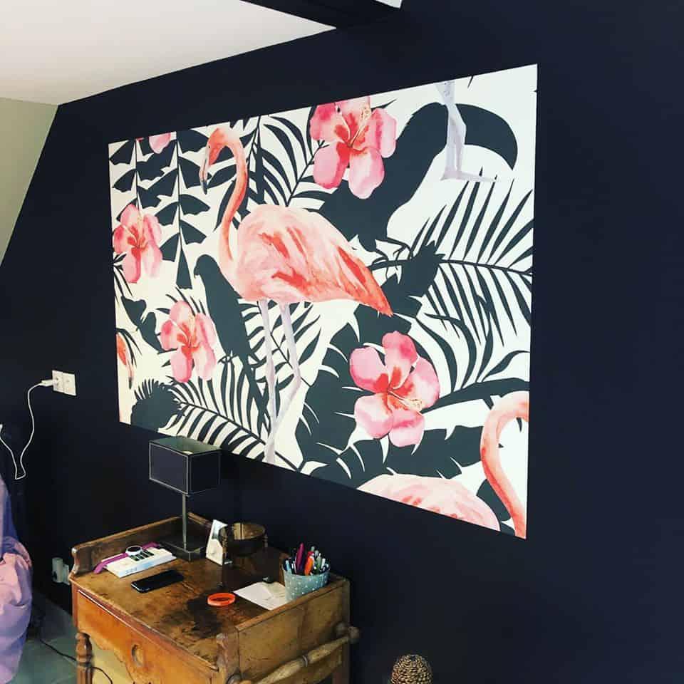 Le papier peint revient en force...ici intégration d'un panoramique au centre de la finition peinture à Caen